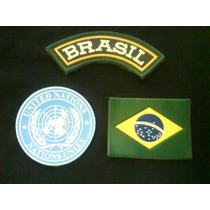 Kit Com 3 Breves : Bandeira Do Brasil, Onu E Tarja Brasil