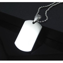 Kit Dog Tag Placa Top E Corrente Aço Cirúrgico 316l
