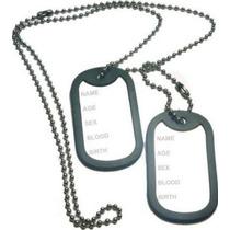 Dog Tag Placa Identificação Militar Aço Inox