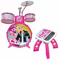 Bateria Infantil Barbie Pop Star Rockstar Rosa Instrumentos