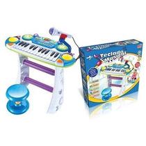 Teclado Musical Infantil Multi Funções C/ Banco E Microfone