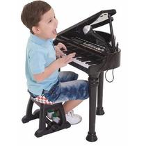 Piano Teclado Musical Eletrônico Preto C/microfone Winfun