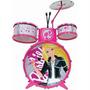 Bateria Musical Infantil Barbie + Banco + Baquetas- Fun
