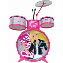 Instrumento Musical Bateria Luxo Infantil Barbie Original