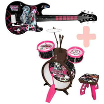 Kit Musical Monster High Guitarra E Bateria Com Banco - Novo