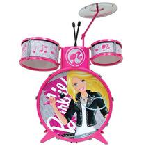 Bateria Infantil Barbie Com Baquinho Brinquedo Musical
