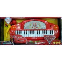 Teclado Musical Infantil Carros Com Microfone
