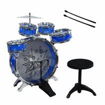 Bateria Musical Infantil Com Banquinho Fênix Azul Brinquedo