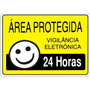 Placa Pvc Sinalização Área Protegida 24h 20 X 30 Cm