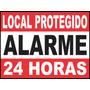 Adesivo Segurança Local Protegido Alarme 24 Horas 30 X 40 Cm