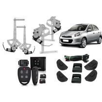 Kit Vidro Elétrico Nissan March 4 Portas Completo + Alarme