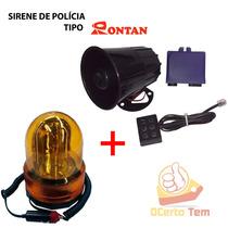 Kit Segurança Sirene Policia Tp Rontan + Giroflex Moto Carro