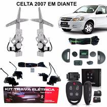 Kit Vidro Elétrico Celta 4 Portas Dianteiro + Trava + Alarme