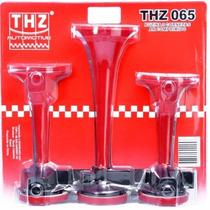 Buzina Á Ar Comprimido 03 Cornetas + Kit Instalação Thz065
