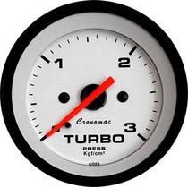 Manômetro Pressão De Turbo 3kg 52mm Street Branco Cronomac