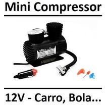Mini Compressor De Ar Pneu De Carro Bola Bicicleta Moto 12v