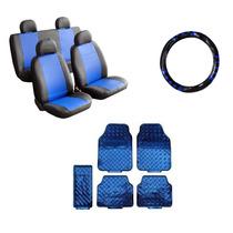 Kit Capa De Courvin Azul E Capa De Volante Azul E Tapetes