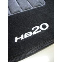 Tapete Hyundai Hb20 Carpete Preto Bordado - Jogo Com 5 Peças