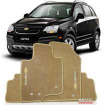 Tapete Carpete Bordado Chevrolet Captiva - 3 Peças Bege
