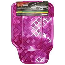 Tapete Automotivo Cromado Alumínio Rosa Carro Universal Jogo