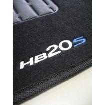 Tapete Hyundai Hb20s Carpete Preto Bordado - Jogo C/ 5 Peças