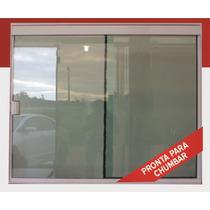 Janela 2f Vidro Temperado Tipo Blindex Alumínio Br 1000x1000