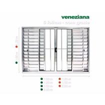Janela De Alumínio Veneziana 1,00 X 1,20 Com Grade