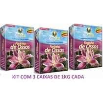 Farinha De Ossos Vitaplan Fertilizante Jardinagem Kit C 3