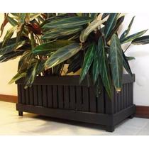Vaso Rustico De Planta Em Madeira Maciça