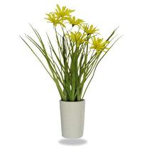 Margarida Amarela Artificial Com Vaso De Cerâmica 28cm
