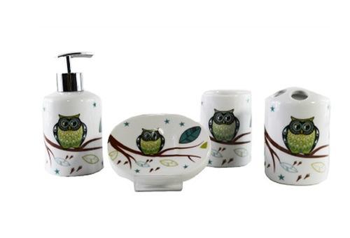 Kit Banheiro Porcelana Mickey : Jogo banheiro coruja porcelana vintage kit higiene