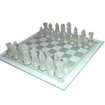 Tabuleiro Jogo De Xadrez Em Vidro Transparente Jateado 30x30