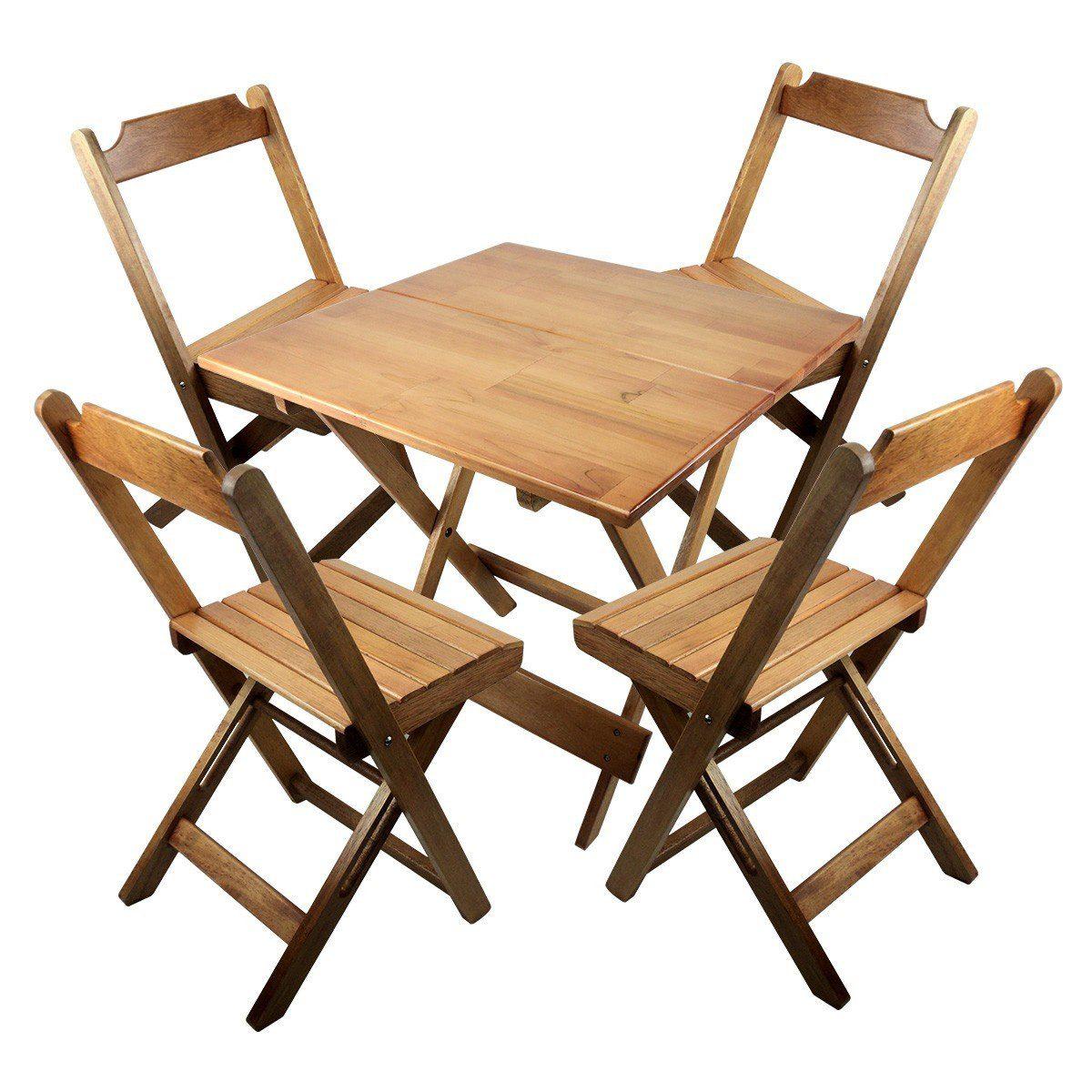 Jogo De Cadeira E Mesa Dobrável De Madeira 80x80 Natural R$ 299 90  #9D692E 1200x1200