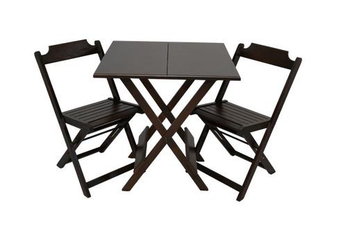Jogo De Mesa Bar 60x60 Com 2 Cadeiras Dobrável Em Madeira
