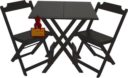 Jogo De Mesa Dobrável 70x70 Com 02 Cadeira Em Madeira Maciça
