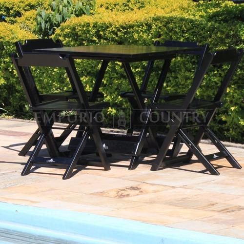 Jogo De Mesa Dobrável 80x80 Com 04 Cadeira Em Madeira Maciça