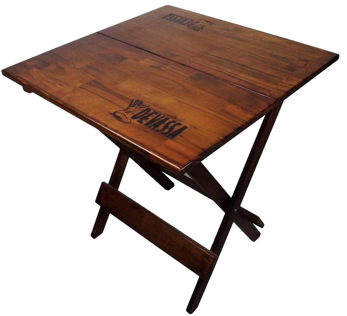 jogo de mesa e 4 cadeiras dobravel de madeira timbr devassa 17658  #9E5A2D 1200x1092