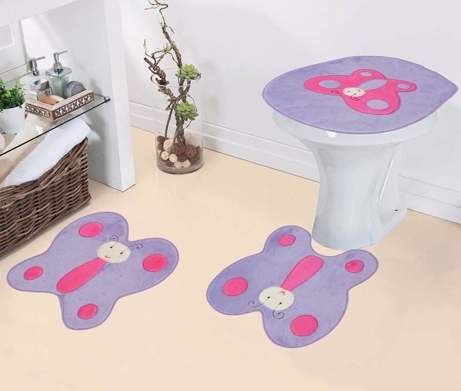 decorar banheiro jogos:Jogo De Tapete De Banheiro Em Pelúcia Borboleta Lilás Menina – R$ 85