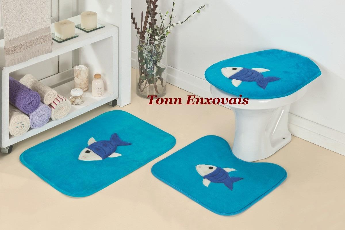 Imagens de #0197B6 Jogo De Tapete Para Banheiro Peixe Peixinho 3 Pçs Em Pelúcia R$ 47  1200x800 px 2738 Box Banheiro Peixe Urbano