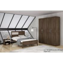 Dormitório Bragança Casal Roupeiro 4 Portas - Móveis Rufato