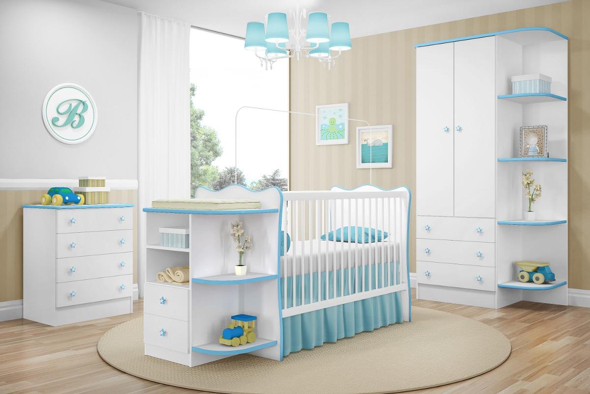 Jogo Quarto Infantil Doce Sonho 3 Peças Branco Azul R