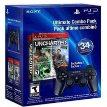 Kit Uncharted 1 2 E 3 + Controle Ps3 Dual Shock 3 - Ps3
