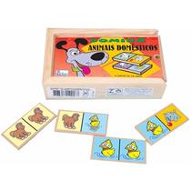 Brinquedo Educativo Domino De Animais Pedagogico Madeira