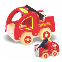 Brinquedo Madeira- Carrinho- Bombeiros