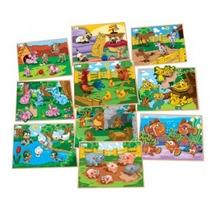 Quebra Cabeça Animais E Filhotes C/ Pinos C/ 10 Jogos