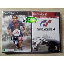 Fifa 13 + Gran Turismo 4 Ps2 Original Ntsc Lacrado 2 Jogos!