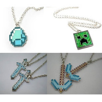 Colar Minecraft -creeper Diamante Picareta Espada Frete 5,50