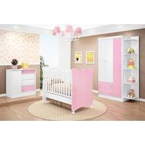 Jogo Quarto Móveis Infantil Bebê Branco Rosa Berço Mini Cama