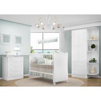 Quarto Infantil Doce Sonho 3 Pçs Berço Bebê Cômoda Branco