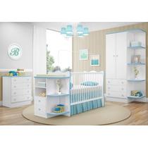 Quarto Infantil Doce Sonho 03 Pçs Berço Bebê Cômoda Bco Azul
